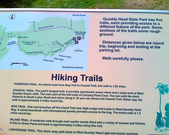 Lubec, เมน: Map, hiking trails, descriptions at Quoddy Head State Park, Maine