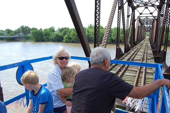 Grand Rapids, OH: Crossing the longest bridge at 901 feet long east of the Mississippi River on a Tourist Railroad