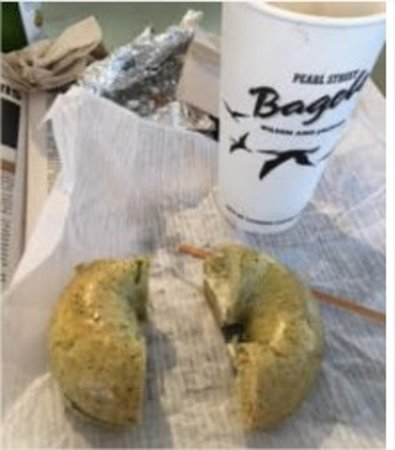 Pearl Street Bagels: Large coffee and buttered bagel