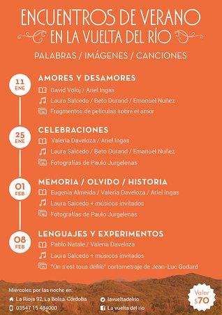 La Bolsa, Argentina: Encuentros de Verano. Ciclo cultural durante enero y febrero de 2017.