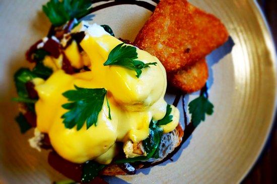 Pub On Wharf: Pub's Chorizo & Feta Eggs Benedict available for Brunch through till 4pm