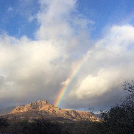 Tubac, AZ: Somewhere over the rainbow... Tumacacori Peak from Avalon Organic Gardens & EcoVillage