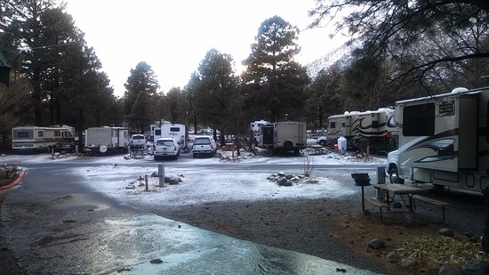 Flagstaff Grand Canyon KOA: RV Area looking out from front pourch