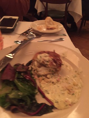 Mr. B's Bistro: Sorry it's out of focus - Crab Cake! Best ever!