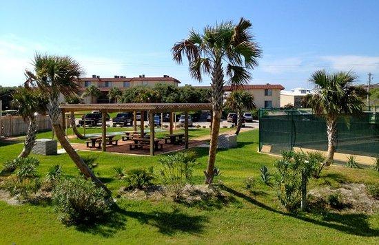 Coral Cay Beachfront Condominiums: Picnic, Rec area and tennis court