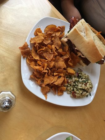 Fitchburg, WI: Crabcake sandwich, sweet potato chips and white bean salad