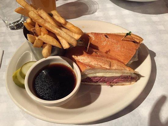 Churchills: French Dip sandwich