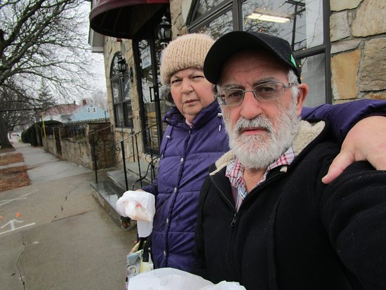 East Providence, RI: Louis and I in front of Morning Star Bakery.