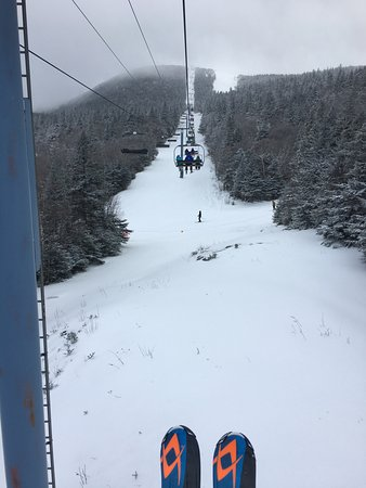 Warren, VT: lift ride up to the summit.