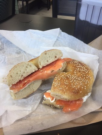 Midland Park, NJ: Lox and half the normal cream cheese on a sesame bagel -- fairly good