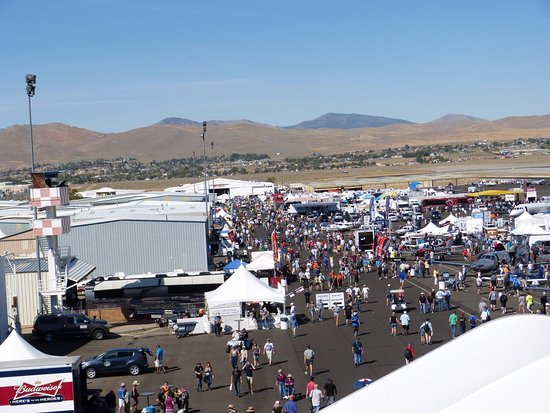 Reno Air Racing Association: 9/17/16 Pit area view from high up in grandstand.