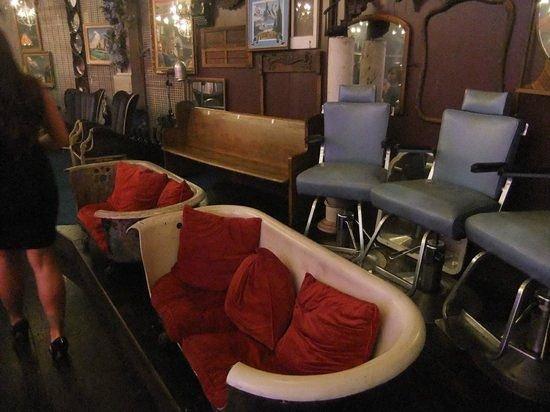 absinthe comfy chairs u003e church pew u003e barber chairs along back - Church Pew