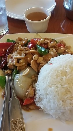 Davis, CA: Lunch special Kung Pao chicken; chopsticks provided too
