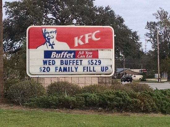 Georgetown, SC: Sign outside KFC with $5.29 wednesday Buffet!