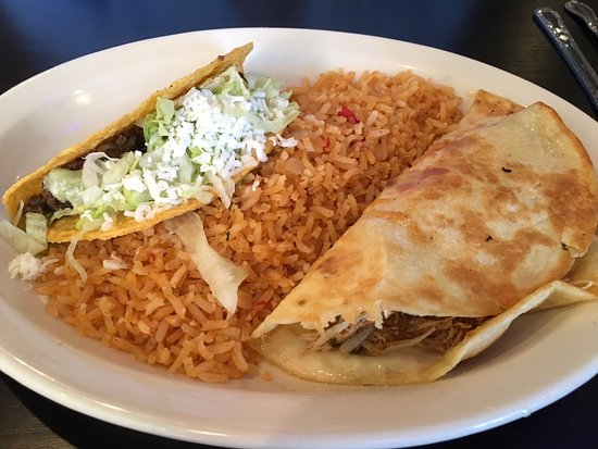 Gambrills, MD: Lunch #8 - Chicken quesadilla, a beef taco and rice.