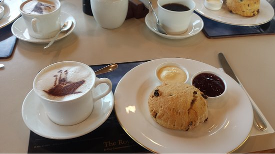 Royal Yacht Britannia: tea or coffee and scones with clotted cream yummo.