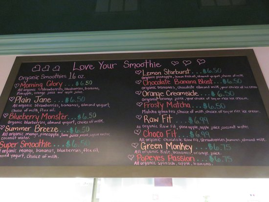 Port Orange, Floride : Smoothie menu