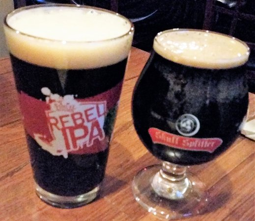 Latham, NY: Big Tupper Touk in a Rebel glass & Founders Breakfast Stout in a Skull Splitter glass.
