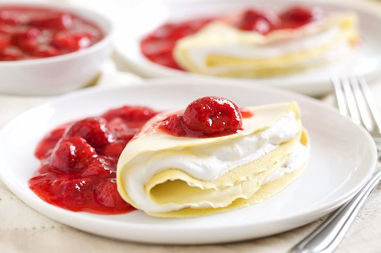 Signature Crepes Suzzette With Cream Filling And Strawberry