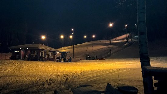 Sahis Aki resort: The slope in darkness (which of course is early in Finland in winter time)...