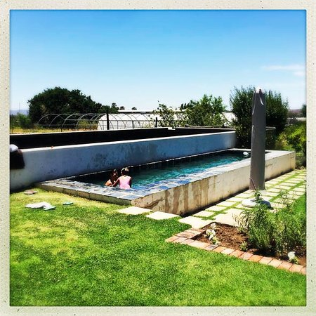 Prince Albert, Afrique du Sud : A view of the pool from the verandah - delighting guests in searing Karoo heat.