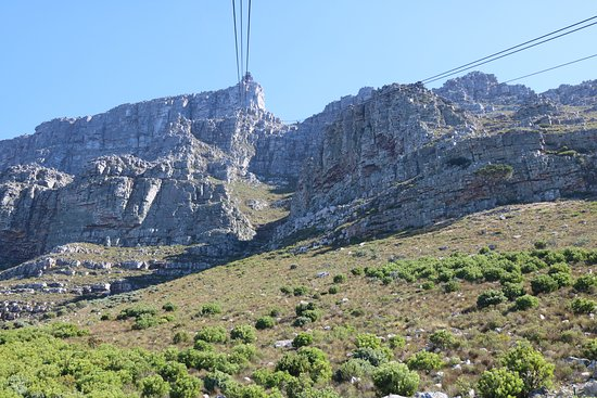 Table Mountain Aerial Cableway: Approaching the top of Table Mountain from a cableway car