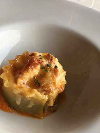 Alan Wong's Restaurant: Keahole lobster & shrimp lasagna with garlic tomato sauce.