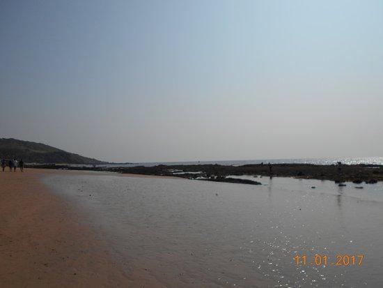 Anjuna, India: ГОА - пляж Анджуна после отлива - 11.01.2017