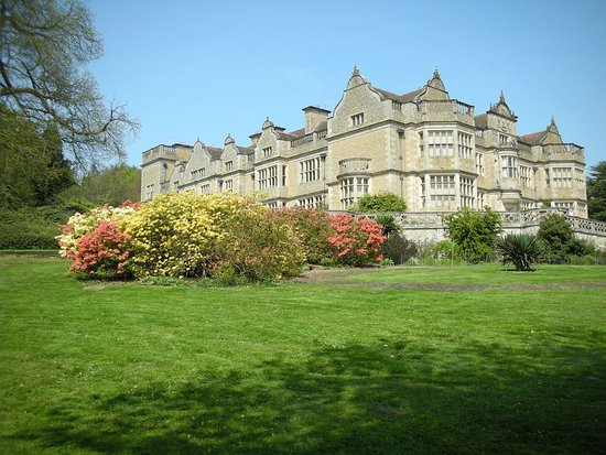 View of Stokesay Court with spring blossoms