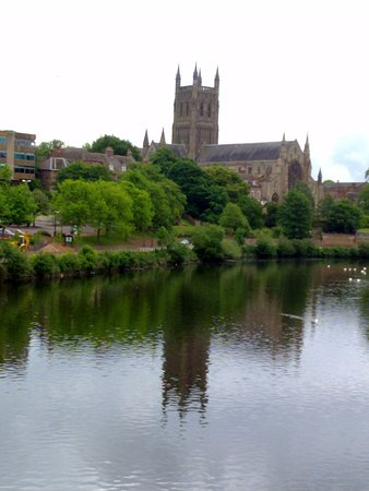 Worcester, UK: Reflection of the cathedral in the Severn