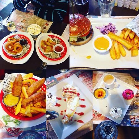 Creches-sur-Saone, Francia: oignons ring et nems mexicain en apéro , burger kentucky avec frites et sauce cheddar , fish&chi
