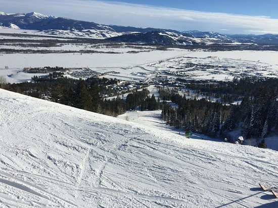 Teton Village, WY: View from the top of one of the Blue runs.