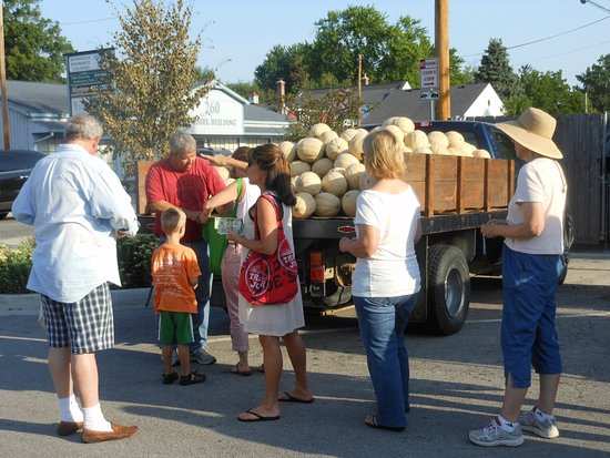 Zionsville, IN: Giant melons from down near Posey County are a big hit.