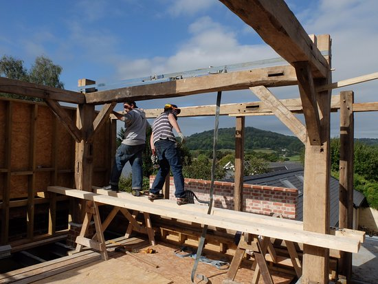 Honiton, UK: The new oak framed sun room, with a view
