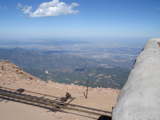Pikes Peak: A view of Colorado Springs just across the cog railway tracks.