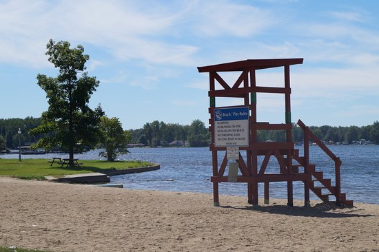 Winona Lake, IN: The beach. Next to the beach is a splash pad.