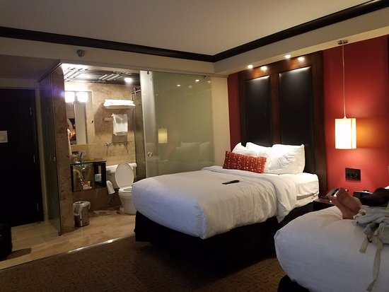 Double Bedroom With Sliding Glass Doors To Close Off Bathroom