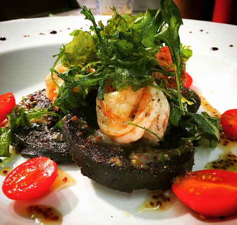 Olive Garden: Gamberoni Sanguinaccio - Black Pudding, King Prawns