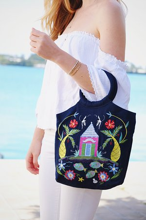 Hamilton, Bermuda: Embroidered Bermuda Buttery bag... great for every day or evening.