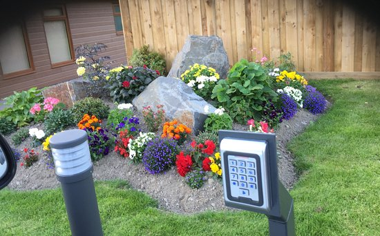 Llanidloes, UK: Beautiful flower beds next to the reception