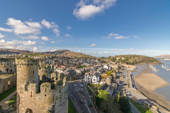 Conwy Castle: View from the top looking over Conwy