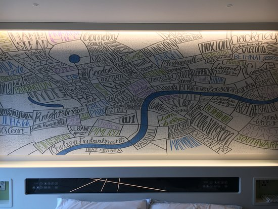 Map above the bed!   Picture of Hub by Premier Inn London