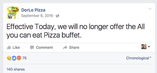 Ashland, OH: No more Pizza Buffet