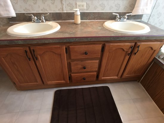 Angel Fire, NM: Dual sinks in the master bath in the vacation rental