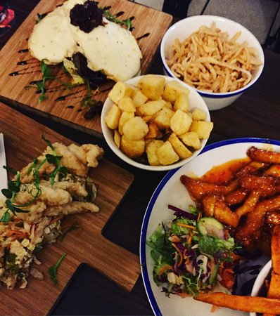 Antrim, UK: Honey chilli chicken, crispy squid, goats cheese bruschetta
