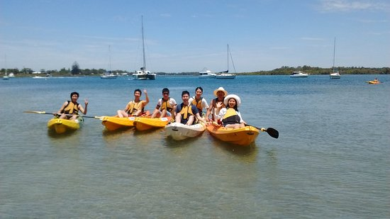 Friends on tour - kayaking on the Myall River Hawks Nest
