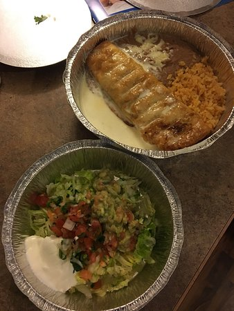 McFarland, WI: Chicken chimichanga to go, they package the cold ingredients separately :) complimentary chips a