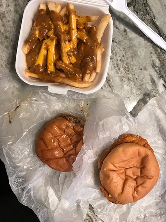 Madison Heights, MI: chili fries, cheeseburger, chicken sandwich