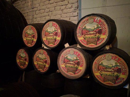 Oak barrels at Museo del vino
