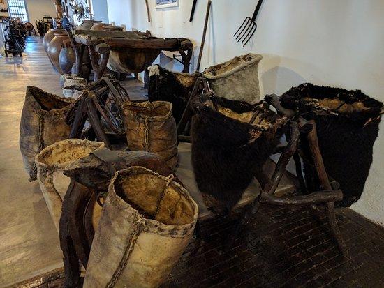 Wine making equipment at Museo del vino